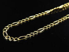 Solid 14K Yellow Gold 2MM Figaro Chain Necklace in  Lobster Clasp 16-24 Inches