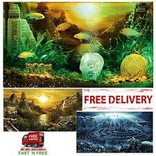 Aquarium Background Decoration Fish Tank Accessory Poster With Application Gel S