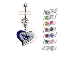 NFL DALLAS COWBOYS AUTHENTIC LOGO HEART CHARM DANGLE NAVEL BELLY RING