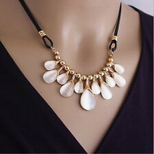 Hot Lovely Fashion Women Clover/Droplets Short Leather Necklace Clavicle Chain