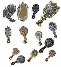 Decorative Antique Vintage Style Foldable Dressing Table Hand Mirror - Diamante