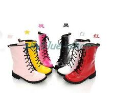Ladies New Solid Shoes Patent Leather Lace Up Punk Military Combat Ankle Boots