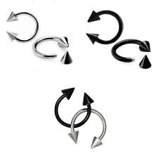 Stainless Steel Spike Barbell Horseshoe Nose Eyebrow Rings Body Piercing Jewelry