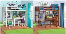 Twin Size Loft Bunk Bed With Ladder Kids Teen Bedroom Furniture Wood New