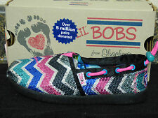 "BOBS from SKECHERS ""BOBS WORLD-SWEET KICKS"" GIRLS SLIP ON SHOES, 85069/BKMT, NIB"