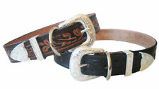 Western tooled Designer Leather Dog Collar with 3 piece silver buckle set