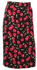 Black & Red Cherry Print 50s INSPIRED ROCKABILLY PENCIL SKIRT 8-24 plus