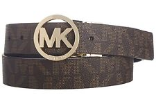 MICHAEL KORS WOMEN'S MK SIGNATURE LOGO REVERSIBLE BELT BROWN BLACK 551342