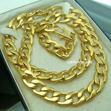 60cm, 70cm  MENS Chain Gold Tone Curb Link Stainless Steel Necklace 11mm W N293