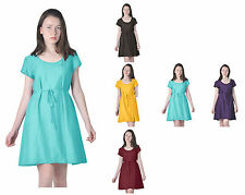 MARY CRAFTS WOMENS CASUAL SIMPLE SHORT SLEEVE WRAP DRESSES SILK COTTON SUMMER