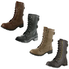 WOMEN'S SODA DOME COMBAT BOOT MILITARY STYLE ZIPPER & LACE UP