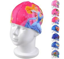 Cartoon Kids Childrens Childs Fabric Swimming Hat Swim Cap 2-10 years 30 designs
