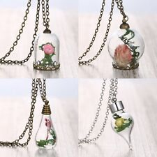 Charming Handmade Real Dried Flower Seagrasses Glass Bottle Necklace Pendant New