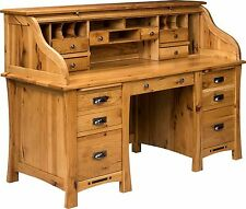 Amish Mission Roll Craftsman Top Executive Secretary Desk Solid Wood Furniture