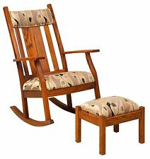 Amish Solid Wood Mission Rocking Chair Rocker Upholstered Padded Headrest