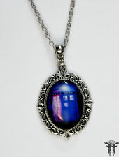 Dr. Who Inspired Altered Art Tardis Police Box Cameo Necklace