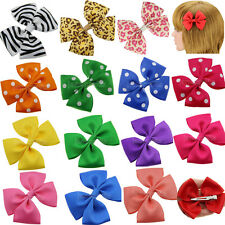 "12x 3.5"" Pinwheel Hair Bows Girl Baby Alligator Clips Grosgrain Ribbon Wholesale"