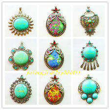XLZ-63 Beautiful Turquoise & Tibet Silver Pendant Bead 1Pcs or 9Pcs