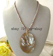 Natural Purple Rice Freshwater Pearl Necklace & Mother Of Pearl Shell Pendant