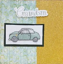 Cars, Bikes, Planes, Vintage Cards Cross Stitch Cards -Handmade- Bomber, Scooter