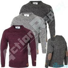 New Mens Soulstar Elbow Patch Crew Neck Knitted Jumper