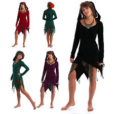 LACE & COTTON TATTY HOODED PIXIE DRESS psy trance boho festival goth 8 10 12 14