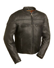 "FMC Mens Black Leather Motorcycle Biker Scooter Jacket FIM226CCBZ ""STAKES RACER"""