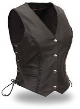 "FMC Ladies Black Leather Motorcycle Biker Scooter Braided Vest ""Trinity"" XS -5XL"
