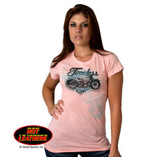 Hot Leather Ladies Timeless Biker Motorcycle Short Sleeve Tee T-shirt