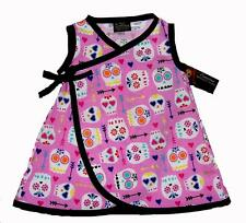 Pink Day of the Dead Sugar Skull Clothes Toddler Baby Girls Dress Diaper Cover
