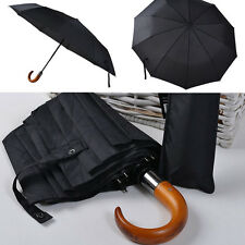 Top quality folding Sun/Rain umbrella for men Wooden handle automatic windproof