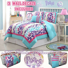 Teen Girl Pink Purple SAFARI LEOPARD PRINT COMFORTER SET+PILLOW+PEACE SIGN DECAL