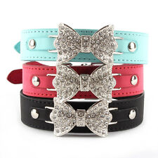 Puppy Cat Dog Collar Bling Crystal Bow Leather Pet Adjustable Collar Choker  L83