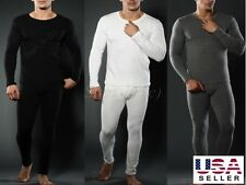 Mens-2PC-THERMAL-Underwear-Set-Top-Bottom-Long-John-Waffle-New-Johns-Pants