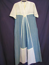 TELAS TLAQUEPAQUE Mexico VTG 60/70s MAXI PRAIRIE DRESS White Lace BLUE DENIM M/L
