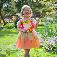 TODDLER GIRLS KIDS CHILDRENS DELUXE FLOWER FAIRY DRESS & WAND COSTUME AGE 2-8