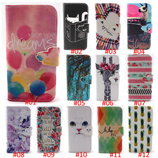 Patterned PU Leather Wallet Card Holder Flip Stand phone Case Cover For iPhone