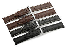 12mm-24mm Croco Grain Genuine Calf Leather Strap Watch Band Steel Prev Buckle