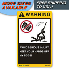 EGGS WARNING SIGNS DANGER LABELS FOR YOUR HOME EGG - FREE SHIPPING TO USA