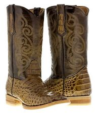 mens light brown leather western cowboy boots alligator crocodile texas square