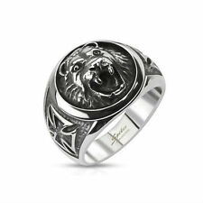 MENS RING SOLID STEEL CELTIC CROSS FROM MALTA LION HEAD NEW 8041