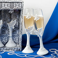 Butterfly Themed Champagne Toasting Glasses ~ Bridal Accessories & Favors