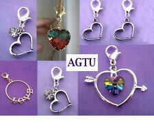 PICK YOUR HEART CHARM ~ Clip On Silver Heart Love Clear Crystal Charm