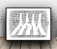 Beatles Abbey road (2) :  Hit songs Spelled out in poster, Wall art.