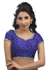 Alluring Royal Blue Silk Ethnic Saree Blouse Choli Sari Indian Crop Top