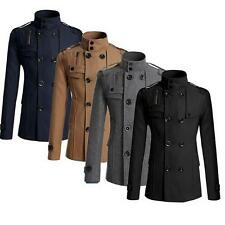 Mens Woolen Fit Double Breasted Jacket Double Breasted Outwear Coat  LS20#