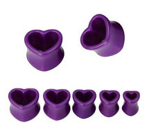 One Pair Solid Purple Acrylic Hollow Heart Double Flare Tunnel Ear Plug Piercing