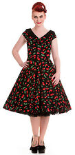 NEW HELL BUNNY BLACK RED CHERRIES 50s ROCKABILLY SWING RETRO VINTAGE DRESS 8-16