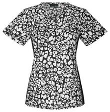 Cherokee Scrubs Etched Leopard Black Scrub Top 1745C ETBK Flexibles