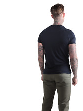 883 Police Mens Short Sleeve Crew Neck Pure Cotton Basic Black Slim Fit T-shirt